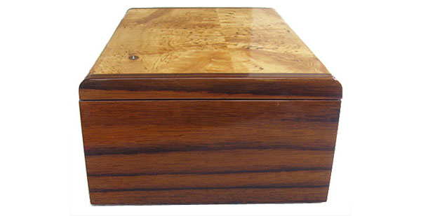 Asian ebony box end - Handmade decorative wood keepsake box
