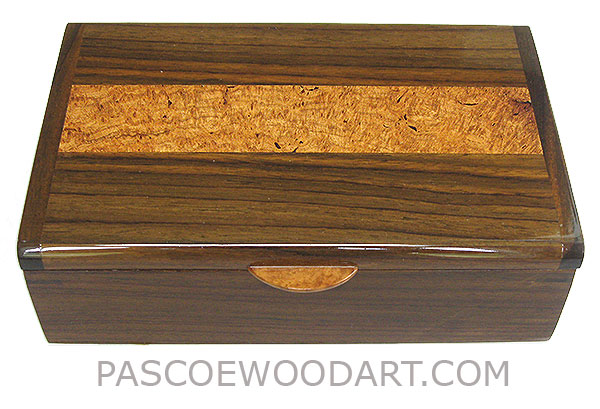 Handcrafted wood box - Decorative wood keepsake box made of Indian rosewood with amboyna burl inlaid top