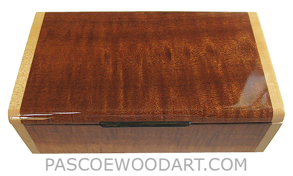 Handmade wood box - Decorative wood keepsake box made of quilted sapele with bird's eye maple ends