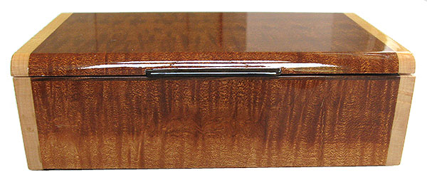 Quilted sapele box front - Handmade wood decorative keepsake box