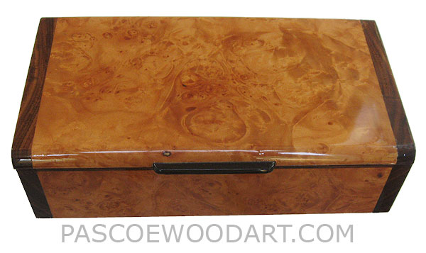 Handmade wood box - Decorative wood keepsake box made of maple burl laminated on cherry with santos rosewood ends
