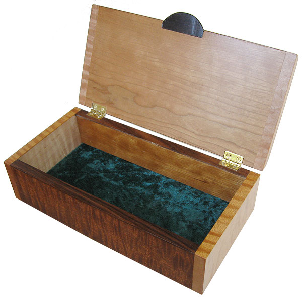 Handmade wood box - Decorative wood keepsake box - open view