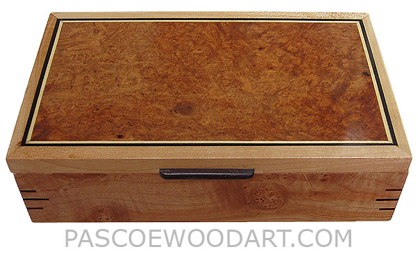 Handmade wood box - Decorative wood keepsake box made of highly figured solid maple with amboyna burl top.