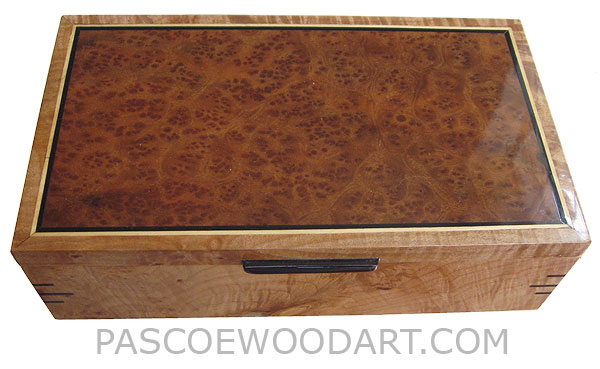 Handmade wood box - Decorative wood keepsake box made of bird's eye camphor burl, figured solid maple, ebony, satinwood