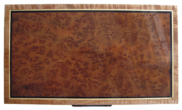 Bird's eye camphor burl box top - Handmade decorative wood keepsake box