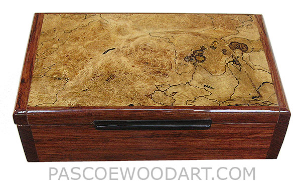 Handmade wood box - Decorative wood keepsake box made of bubinga with black line spalted maple top