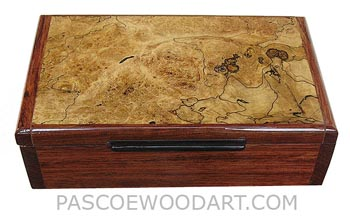 Handmade wood box - Decorative wood keepsake box made of bubinga with black line spalted maple burl top