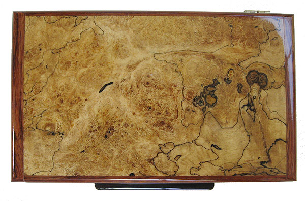 Black line spalted maple burl box top - Handmade decorative wood keepsake box