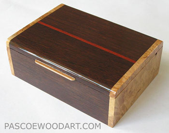 Decorative keepsake box made of wenge, maple burl wood