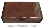 Handmade wood box - Decorative wood keepsake box made of camphor burl with bois de rose ends