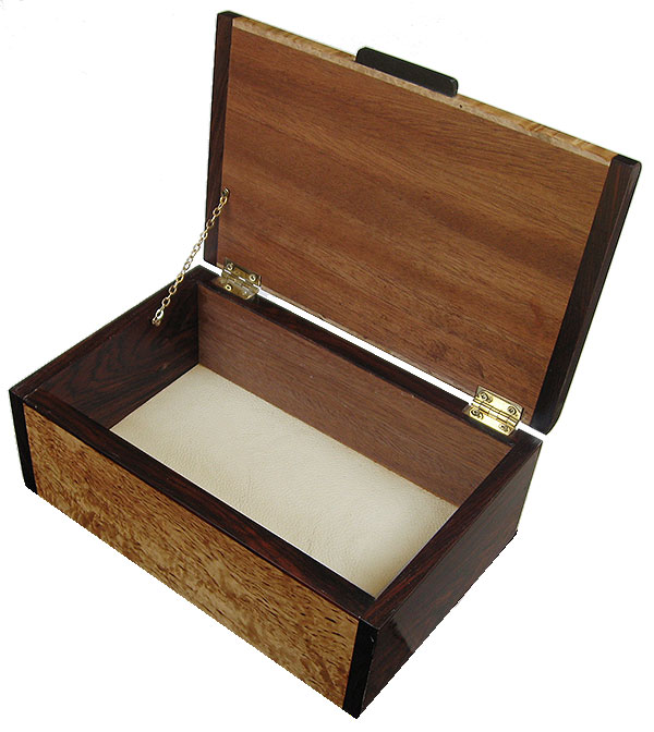 Handcrafted wood keepsake box - open view