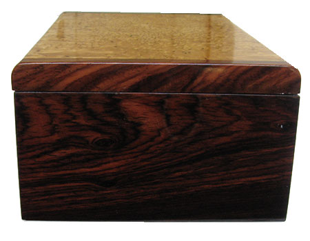 Cocobolo box end - Handcrafted decorative wood box