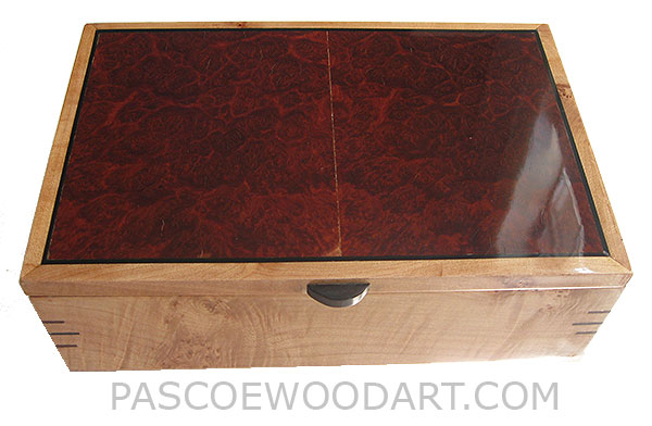 Handcrafted wood box - Decorative keepsake box made of figured maple with red mallee burl top