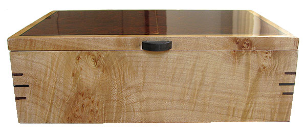 Figured maple box front - handmade wood box - decorative keepsake box