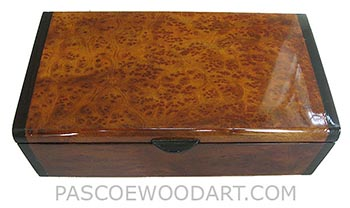 Handmade wood box - Decorative wood keepsake box made of camphur burl with bois de rose ends