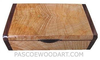 Handmade wood box -Decorative wood keepsake box made of figured maple with santos rosewood ends