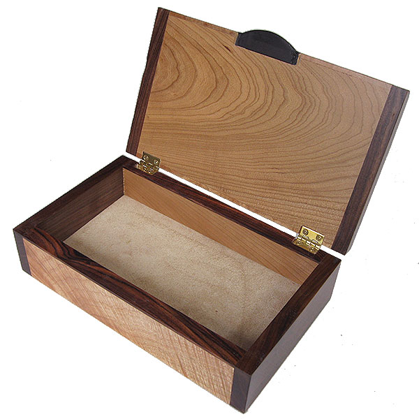 Handmade wood box open view - Decorative wood keepsake box
