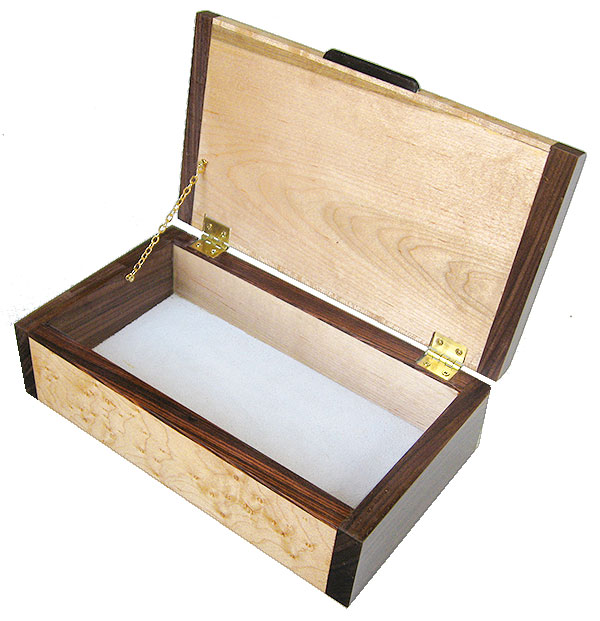 Handmade wood box - Decorative keepsake box open view