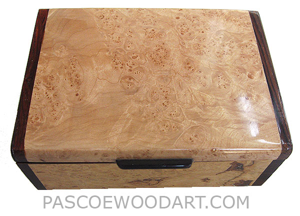 Handmade wood box - Decorative wood keepsake box make of maple burl with cocobolo ends