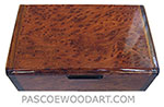 Handmade wood box - Decorative wood keepsake box made of bird's eye redwood burl with Asian ebony ends