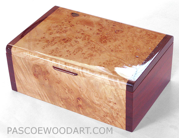 Handcrafted decorative wood keepsake box made of maple burl, padauk