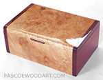 Handcrafted decorative keepsake box - Maple burl keepsake box with padauk ends