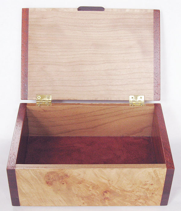 Handmade decorative wood keepsake box - Maple burl keepsake box - open view