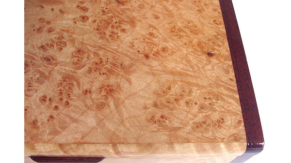Maple burl box top close up - Handmade decorative wood keepsake box