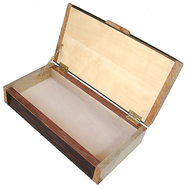 Handmade decorative wood box open view