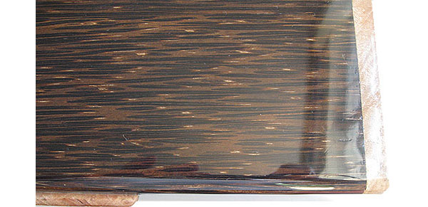 Black palm box top close up - Handmade wood decorative keepsake box