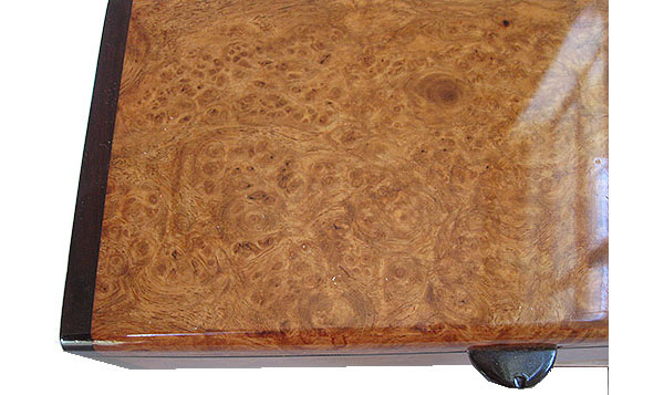 Ambyna burl box top close up - Handmade wood decorative keepsake box