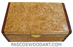 Handmade wood box - Decorative wood keepsake box made of maple burl with cocobolo ends