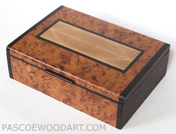 Amboyna burl box with ebony trim and ends - Decorative keepsake box