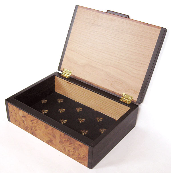 Handmade decorative wood keepsake box - Amboyna burl and ebony box - open view