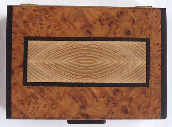 Amboyna burl box top inlaid with end grain elm and trimmed in ebony