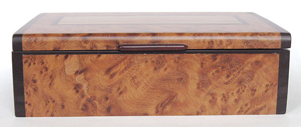 Ambyna burl and ebony wood keepsake box - front view