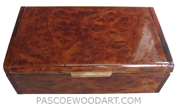 Handmade wood box- Decorative wood keepsake box made of camphor burl with cocobolo ends
