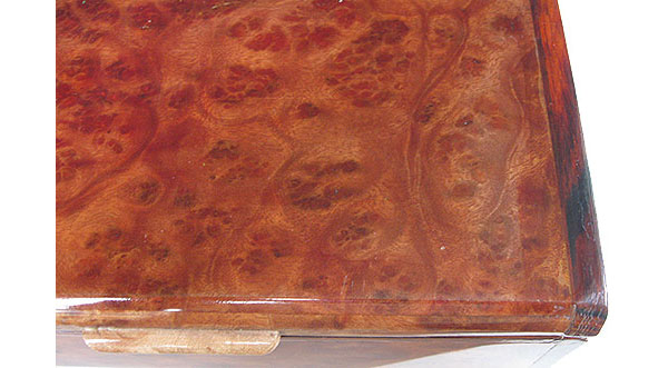 Camphor burl box top close up - Handmade decorative wood keepsake box