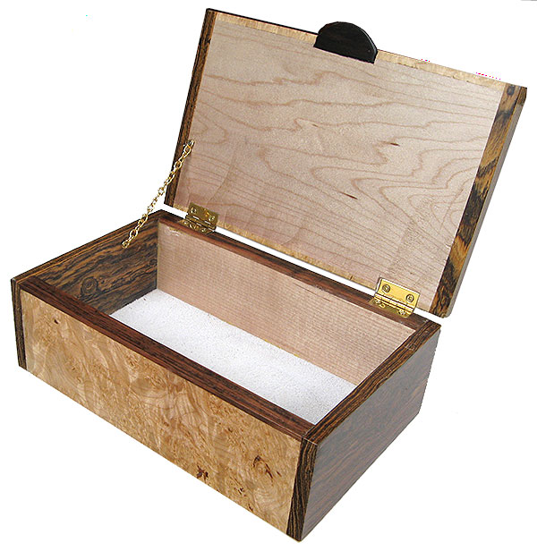 Handmade decorative wood box - keepsake box open view