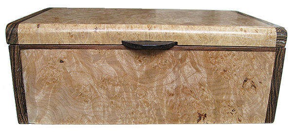 Maple burl box front - Handmade wood decorative keepsake box