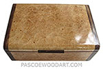 Handmade wooid box - Decorative wood keepsake box made of maple burl with Brazilian kingwood ends