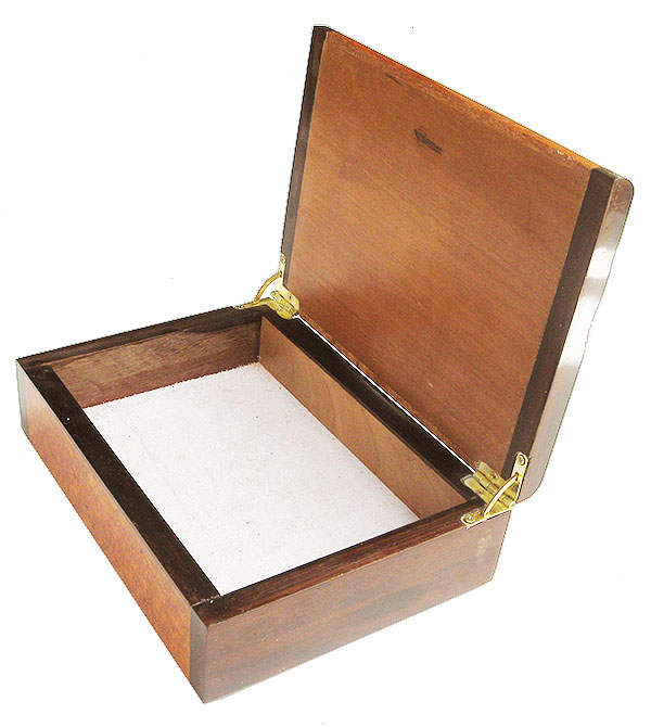 Handmade wood box open view
