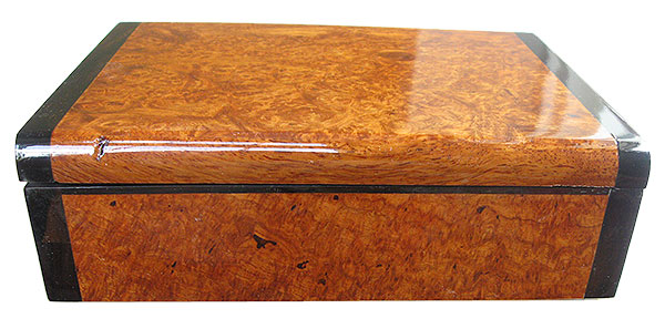 Amboyna burl box front - Handmade decorative wood keepsake box