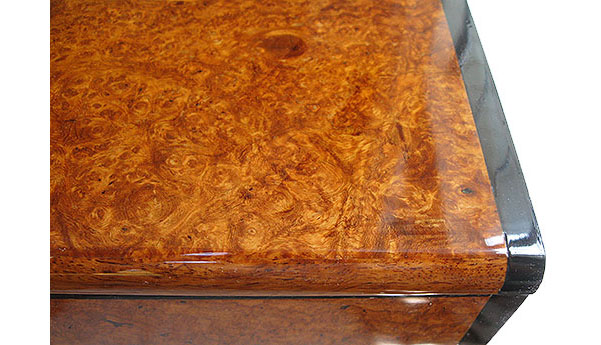 Amboyna burl box top close up
