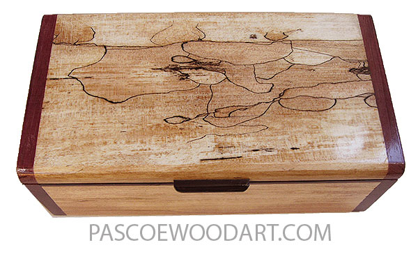 Handmade wood box - Decorative wood keepsake box made of spalted maple with purple heart ends