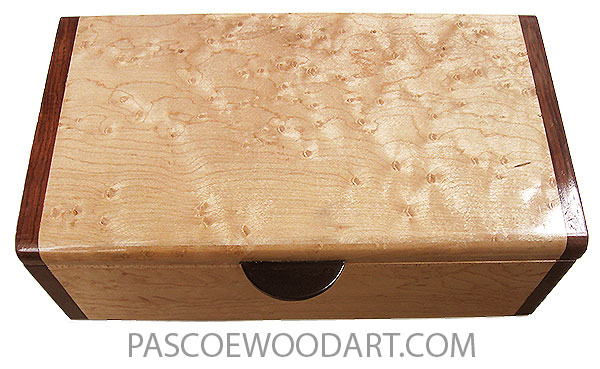 Handmade wood box - Decorative wood keepsake box made of birds eye maple with Honduras rosewood ends