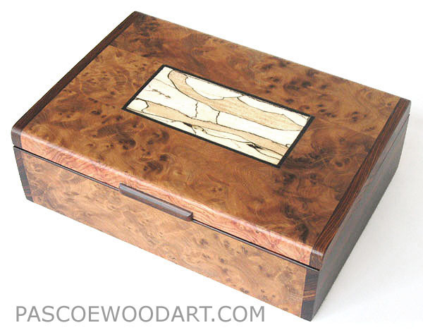 Decorative wood keepsake box - Handmade amboyna burl wood box with cocobolo ends, bleached spalted maple inlaid top