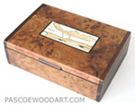 Decorative wood keepsake box - Anboyna burl handmade box with cocoboco ends, bleached spalted maple inlaid top
