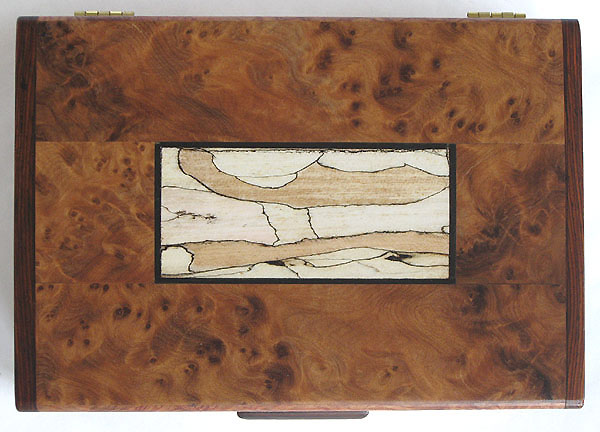 Amboyna burl with bleached spalted maple inlaid box top - Handmade decorative wood keepsake box