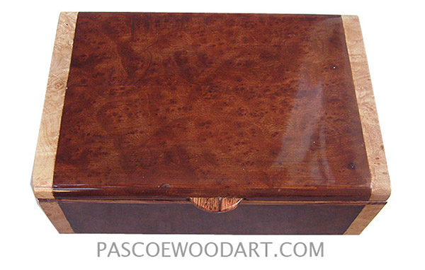 Handmade wood box - Decorative wood keepsake box made of camphor burl with maple burl ends